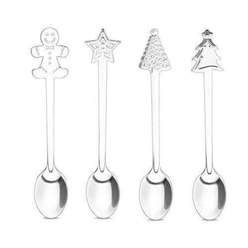 Navidad estilo 4 piezas Vajilla de cocina cuchara de postre,