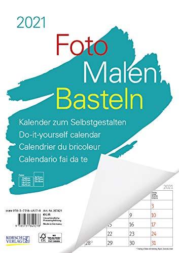 Foto-Malen-Basteln A4 weiß Notice 2021: Bastelkalender zum Selbstgestalten. Edler Fotokalender mit festem Fotokarton und Platz für Geburtstage/Notizen Do-it-yourself!