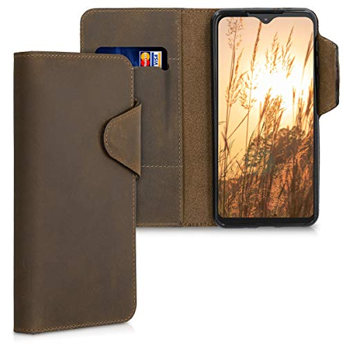 kalibri Hülle kompatibel mit Motorola One Macro - Leder Handyhülle - Handy Wallet Hülle Cover in Braun