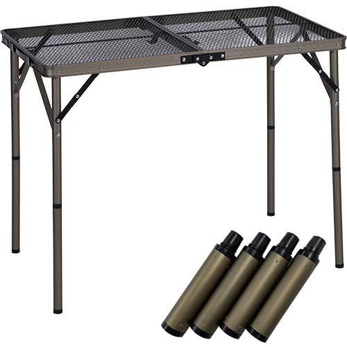 [クイックキャンプ] 折りたたみフルメッシュテーブル 90cm ヴィンテージ & テーブル用延長レッグ 10cm 4本 2点セット QC-2FMT90V/QC-ELEG