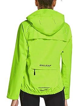 BALEAF Women  Cycling Running Rain Jackets Waterproof Hiking Wind Breakers Golf Lightweight Packable Reflective Fluorescent Yellow Size M