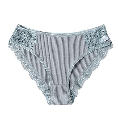 Kalaokei Damen-Slips, bequeme Passform, 3 Stück, sexy, einfarbig, Spitze, Patchwork, gerippt, niedriger Bund, Baumwolle, Hellblau, XL