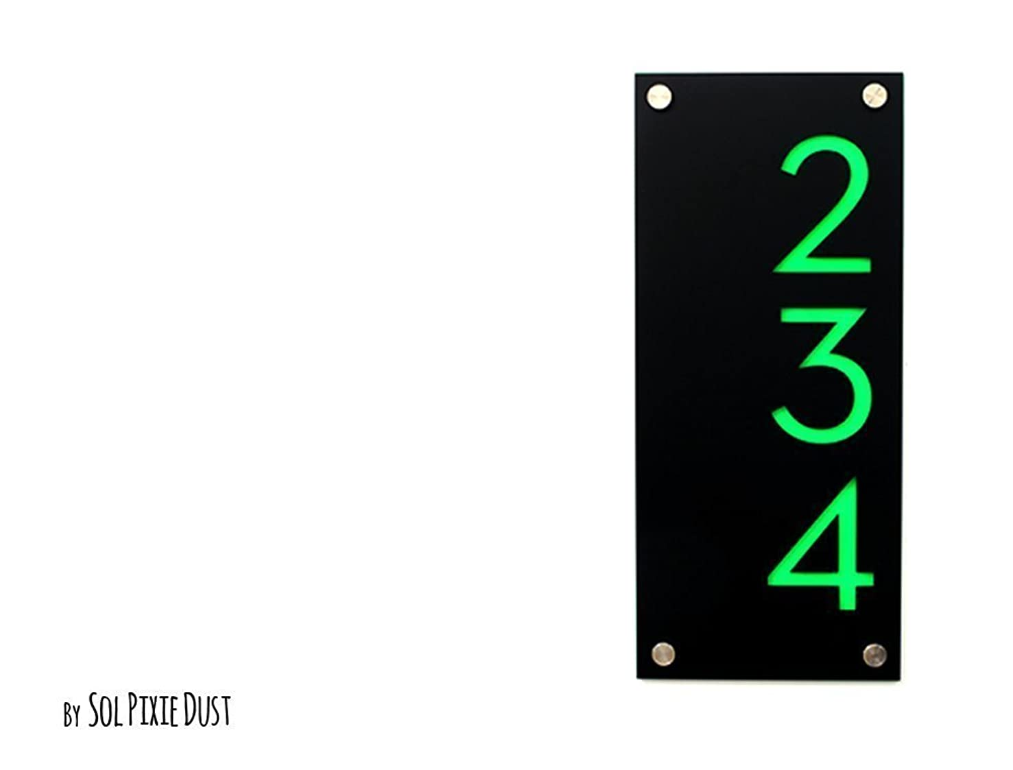 Modern House Numbers, Black Acrylic with Bright Green Acrylic - Vertical - Contemporary Home Address -Sign Plaque - Door Number