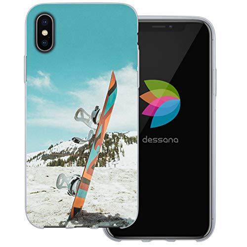 dessana Winter Sport transparente Schutzhülle Handy Case Cover Tasche für Apple iPhone XS Snowboard