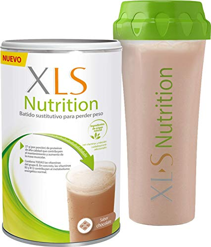 XLS Medical Nutrition Chocolate + Shaker de regalo - Batido sustitutivo de comidas para perder peso - Ingredientes de origen natural - contiene todas las vitaminas del grupo B - Sin gluten - 400 g