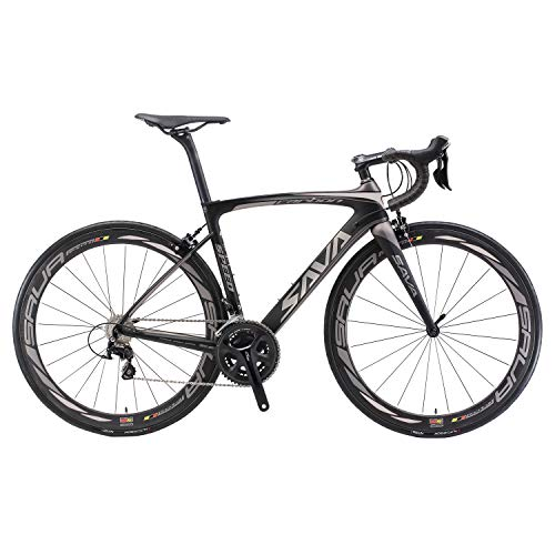 Carbon Road Bike, SAVA HERD6.0 T800 Carbon Fiber 700C Road Bicycle with 105 22 Speed Groupset Ultra-Light...