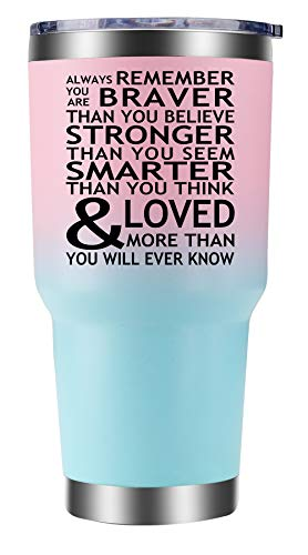 Inspirational Tumbler Gift 30oz. Always Remember You Are Braver Than You Believe, Stronger, Smarter and Loved More Than You Will Ever Know for Women, Coworker Retirement by Cahermore Collections.