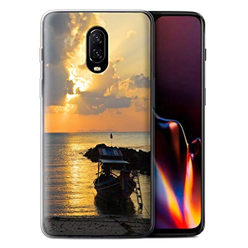 STUFF4 Gel TPU Phone Case/Cover for OnePlus 6T / Boat/Sunrays Design/Thailand Scenery Collection -  MR-1PLUS6T-GC-MP-THAI-BOATRAYS