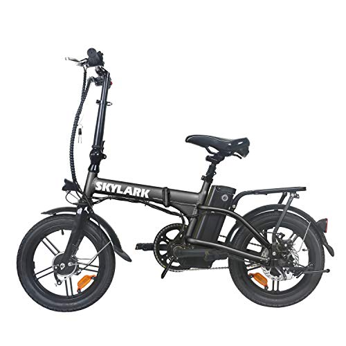 TrekPower Folding Electric Bike 250W Lightweight Aluminum Elecctric Bicycle 16' 36V10A Lithium Battery Ebike with Pedals,Power Assist, 20 Miles Range E-Bike with Dual Disc Brake (Black)