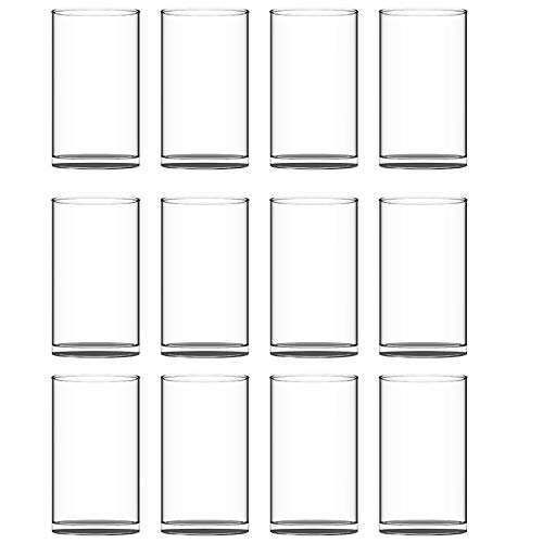 """HWASHIN Set of 12 Clear Glass Cylinder Vases (2 Sponge Brushes Included), 3.5"""" W x 6"""" H, Flowers Vases, Decorative Centerpieces for Home, Events or Weddings"""