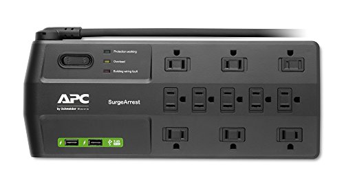 APC Surge Protector with USB Ports, P11U2, 2880 Joule, 6' Cord, Flat Plug, 11 Outlet Power Strip