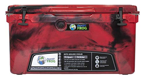 Frosted Frog Red Camo 75 Quart Ice Chest Heavy Duty High Performance Roto-Molded Commercial Grade Insulated Cooler