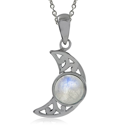 Silvershake Natural Moonstone 925 Sterling Silver Filigree Crescent Moon Pendant with 18 Inch Chain Necklace