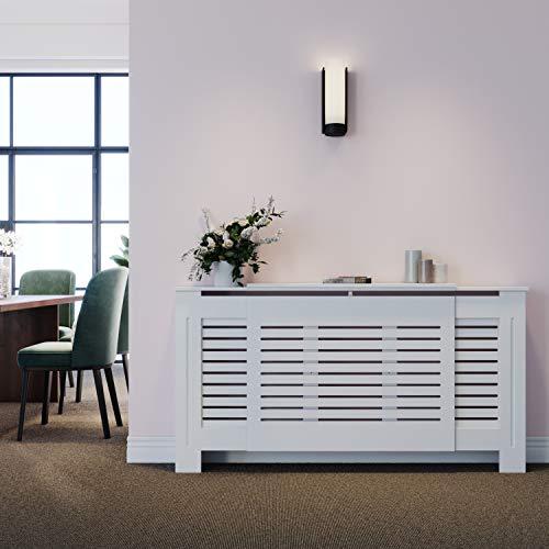 ELEGANT Radiator Cover Horizontal Slat Radiator Shelve White Painted Modern MDF Cabinet for Living Room Bedroom, Adjustable
