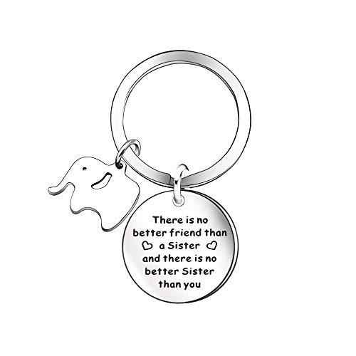 Llavero con diseño de elefante para mujer, niña, hermana, hermana, regalo para hermana, amiga, niña, cumpleaños