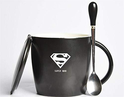 DDGFX Die Avengers Black Lemon Tee Kaffeetasse Mit Löffel Superman Spiderman Batman Hulk Thor Tassen Keramik Kaffeetassen Drinkware-Superman_450Ml