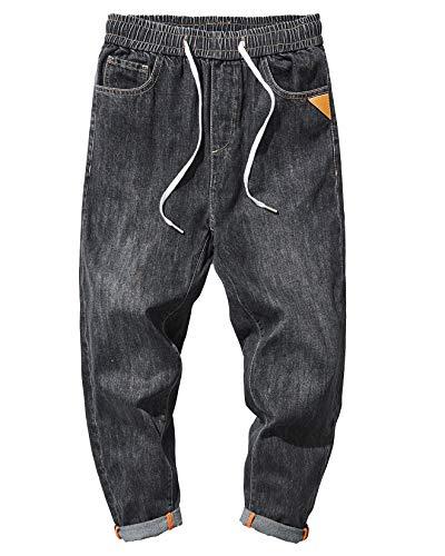 PRIJOUHE Men's Casual Joggers Jeans Stretch Regular Fit Elastic Drawstring Waist Denim Harem Pants