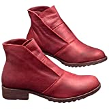 Frolada Botines Para Mujer Botines De Piel Sintética Zapatos Planos Informales Para Mujer Otoño Invierno Tacones De Bloque Sin Cordones rojo 40