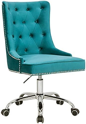 Bürostuhl Victorian Samt türkis mit Armlehne Stuhl höhenverstellbar mit Leichtlaufrollen