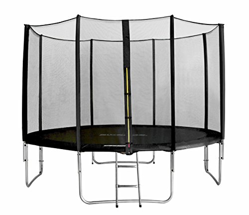 SixBros. SixJump 12FT 3.70 M Garden Trampoline Black for safety - Safety net - Ladder - Protection...