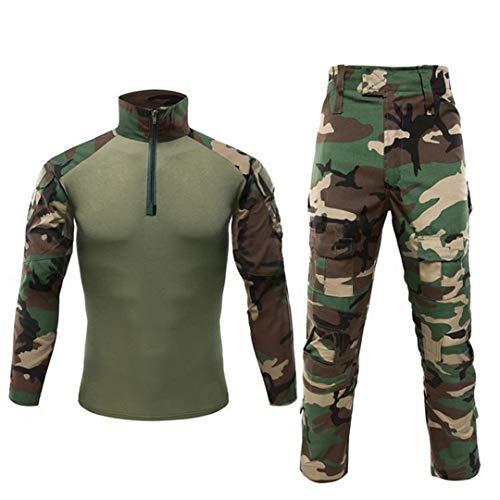 Herren Woodland Militäruniform Airsoft Camouflage Anzug Militäruniform Tactical Pants Shirt Mit Pad Woodland S