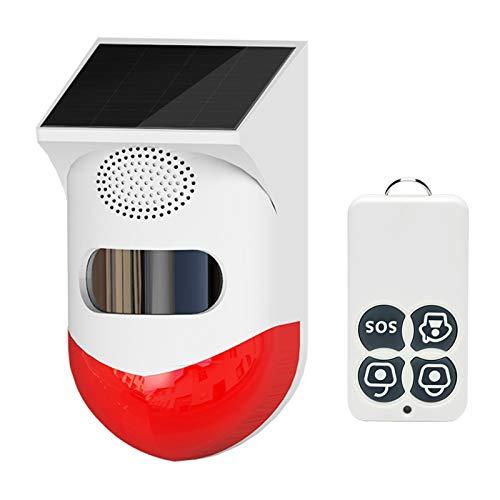 MagiDeal Alarma Solar, Detector de movimiento con control remoto 120db sirena de SEGURIDAD de SONIDO IP67 impermeable para casa, granja, Granero, Villa, patio.
