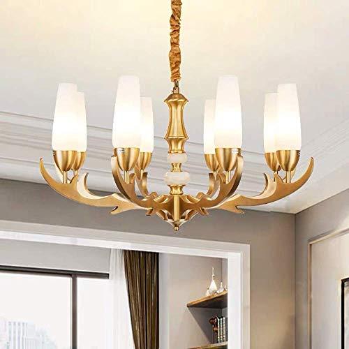MJK Lámparas de techo Lámparas de techo, todas de cobre, piso doble, sala de estar, luz, restaurante, ambiente, casa europea, lámpara de 8 dormitorios, lámpara de araña