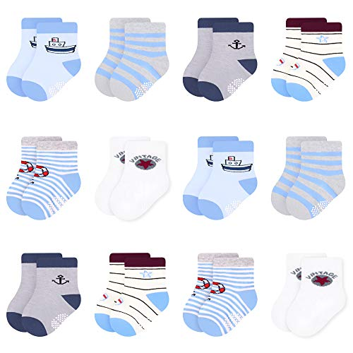 L&K-II 12 Paar Antirutschsocken Baby Socken Bunt Stoppersocken Kinder Antirutschsocken Kinder Anti Rutsch Socken Baby Stoppersocken für 0-12 Monate Alte Neugeborene Jungen 2832 13-15