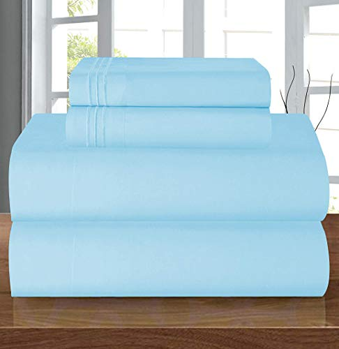 Elegant Comfort Luxury Soft 1500 Thread Count Egyptian 4-Piece Premium Hotel Quality Wrinkle Resistant Coziest Bedding Set, All Around Elastic Fitted Sheet, Deep Pocket up to 16inch, Queen, Aqua