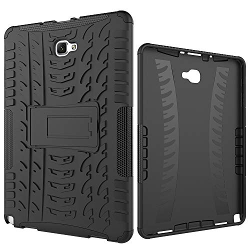 Tablet Protective Case Tablet Cover for Samsung Galaxy Tab A 2016 10.1/P585/P580 Tire Texture Shockproof TPU+PC Protective Case with Folding Handle Stand (Color : Black)
