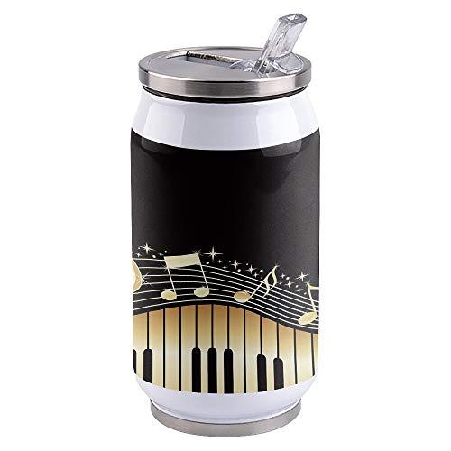 Vasos de Agua Creativa Taza de Café Teclas de Piano Nota Música Amarillo Gradiente Taza Termal de la Taza de Acero Inoxidable Doble Taza de Cola Tapa de la Botella de Agua