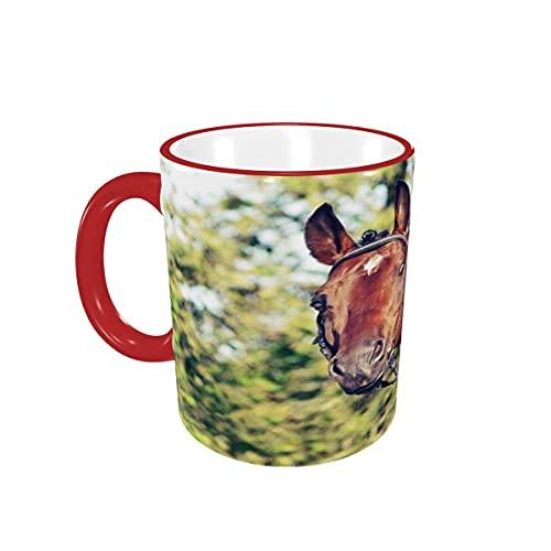 Taza de café Beautiful Stallion Animal Horse Tazas de café Tazas de cerámica con Asas para Bebidas Calientes - Cappuccino, Latte, Tea, Cocoa, Coffee Gifts 12 oz Red