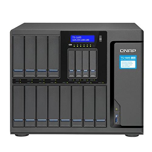 Qnap TS-ts-1685-d1521–8g-US 12(+ 4) Bay Große iSCSI NAS, Intel Xeon 4-Core 2,4GHz, 8GB RAM, SATA6G, 4x 1GBE, 2x 10GbE (Base-T), 40gbe-Ready