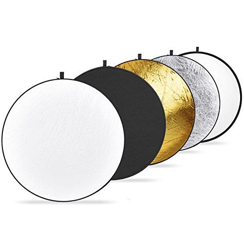 Neewer - Riflettore di luce 5-in-1 pieghevole per studio fotografico, video fotocamera, Multicolori (Oro, Argento, Nero e Bianco traslucido), 110 cm