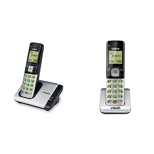 VTech CS6719 DECT 6.0 Cordless Phone with Caller ID/Call Waiting, 1 Handset, Silver/Black & CS6709 Accessory Cordless Handset, Silver/Black
