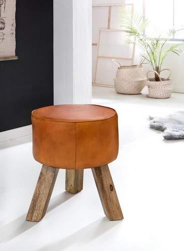 Wohnling Design turnbok kruk, echt leer, bruin, 37 x 37 x 45 cm