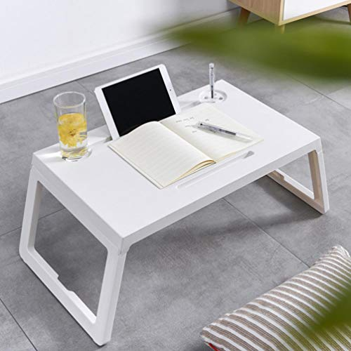 Yinguo Lazy Laptop Bed Table with Drawer, Lap Tablet Standing Desk for Bed and Sofa Breakfast Coffee Tray, Laptop Lapdesk, Folding Notebook Stand Reading/Cup/Pen Holder for Couch Floor (White)
