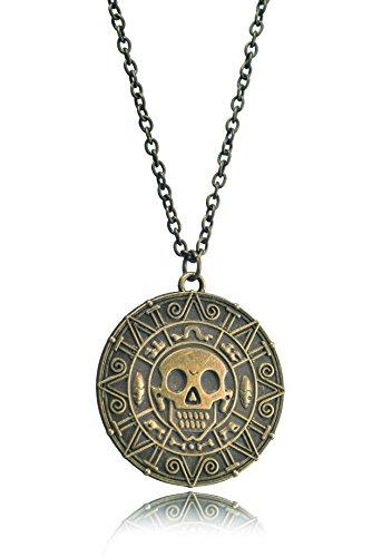 REINDEAR Collar con colgante de Moneda de Cortez azteca de Piratas del Caribe