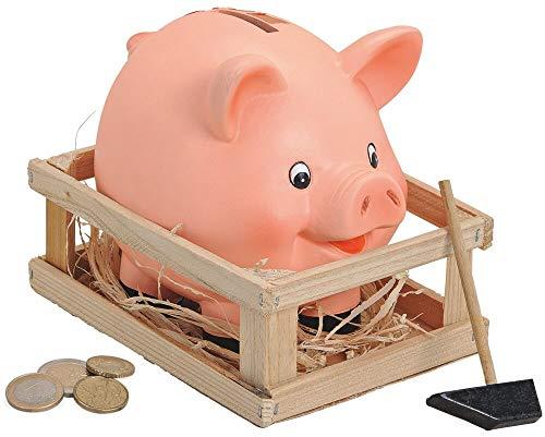 matches21 Spardose Sparbüchse Schwein im Stall mit Stroh & Hammer - Sparschwein aus Ton - rosa - 1 STK 16x12x14 cm