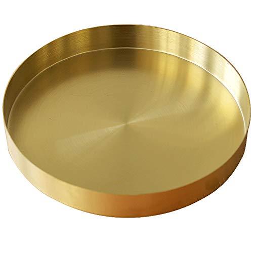 DOKOT Rundes Tablett aus Edelstahl Serviertablett Goldfarben Schmuck- und Make-up-Organizer/Kerzenteller Gold (22 cm)