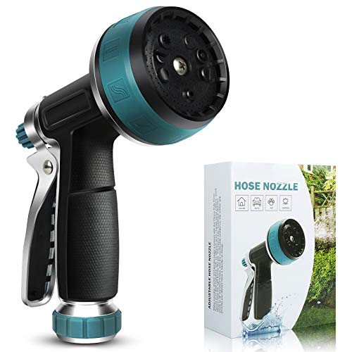 Garden Hose Nozzle - Water Hose Sprayer Nozzle, Aluminum Alloy Rubber Spray Gun with 10 Spray Patterns, Garden Sprayer for Cleaning Watering Lawn and Garden Pets Shower (Blue)