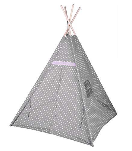 Kinder Spielzelt 160 cm - Farbe: grau / rosa - Kinderzimmer Tipi Kinderzelt Wigwam Indianerzelt Zelt