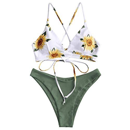 ZAFUL Damen Sexy Sonnenblume Drucken Schnüren Criss Cross Hoher Schnitt Bikini Set Badeanzug (L, GRÜN)