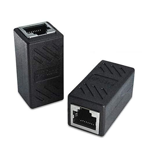 healthwen 1 par de acoplador Hembra RJ45 para Ethernet Cat 5 / Cat 6 LAN Extensor de Cable Ethernet Uso Duradero Alto Rendimiento Negro