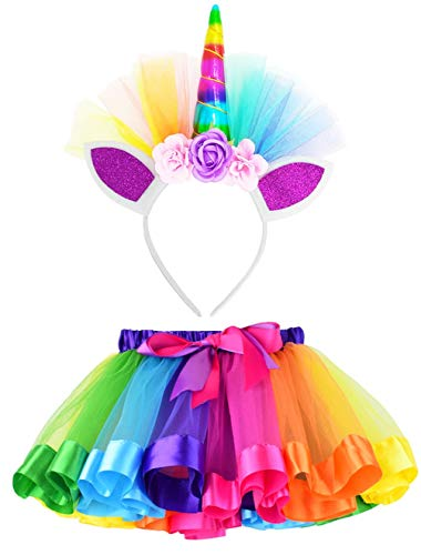Image of the LYLKD Little Girls Layered Rainbow Tutu Skirts with Unicorn Horn Headband (Rainbow, L,4-8 Years)