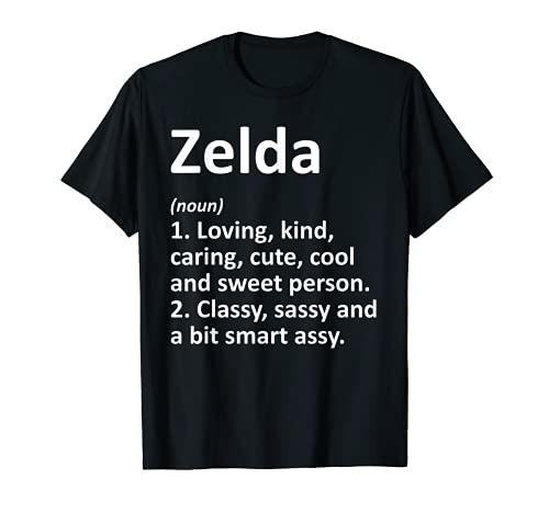 ZELDA Definición Personalizado Nombre Divertido Regalo de Cumpleaños Idea Camiseta