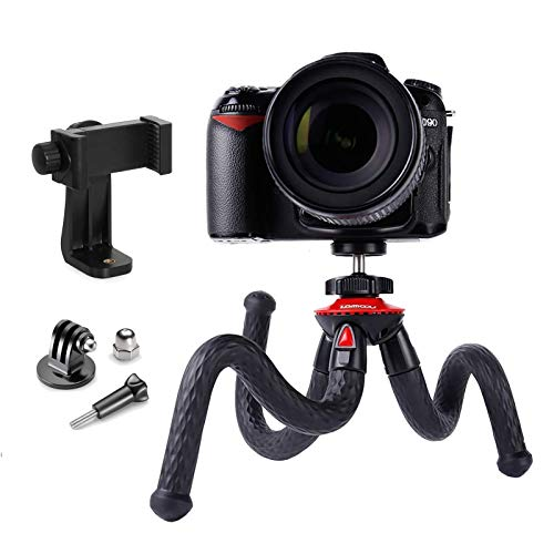 Trípode, Lammcou Tripode para el Movil Cámara Flexible Tripode con Tornillo 1/4 para Canon Nikon Cámara + Adaptador Tripode para Movil iPhone + Adaptador GoPro para Hero 8 7 MAX+ Osmo Action Tripod