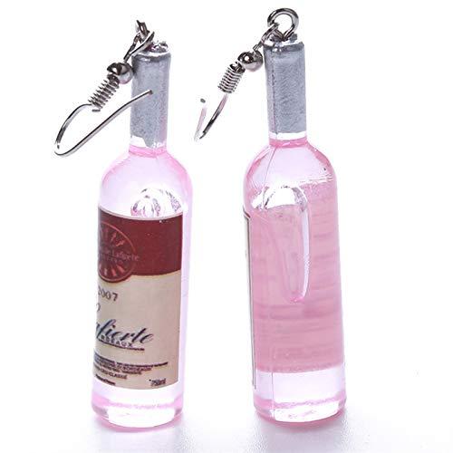 TLBB Conclecimiento de la Botella de Vino Creativa Pendientes Colgantes Moda Mujer Coctel de Vidrio Pendientes de Vino Tinto (Metal Color : Pink)