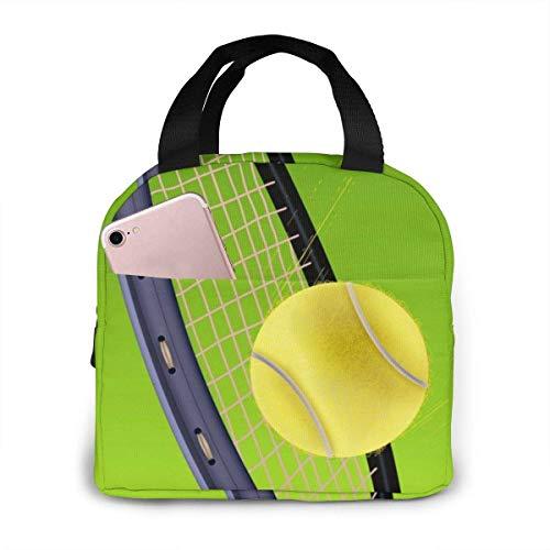 Hdadwy Bolsa de almuerzo reutilizable Fiambrera aislada Tela de lona con papel de aluminio, raquetas de tenis y pelotas Bolso de mano Fordable