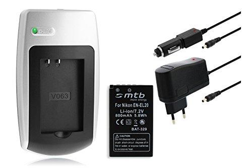 Batería + Cargador EN-EL20 para Nikon 1 J1, 1 J2, 1 J3, 1 S1, Coolpix A